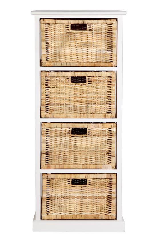 Hamptons Basket Storage 4 Drawers - White