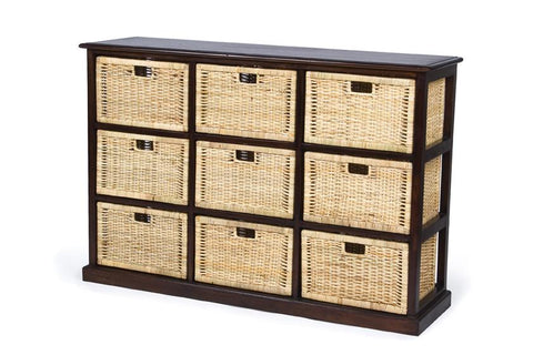 Hamptons Basket Storage 9 Drawers - White *image shows brown*