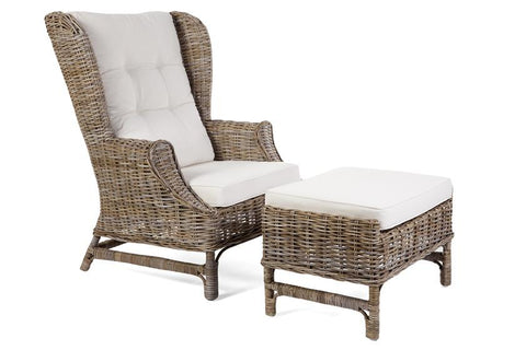 King Rattan Chair & Footstool - Kubu Grey