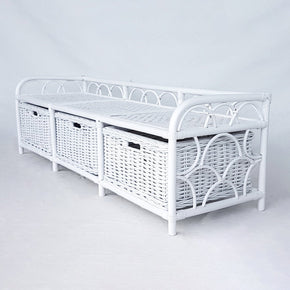 3 Drawer Bench - White