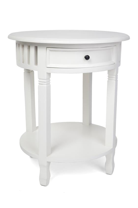 Bedside Round Table.Round White Timber Bedside Or Side Table