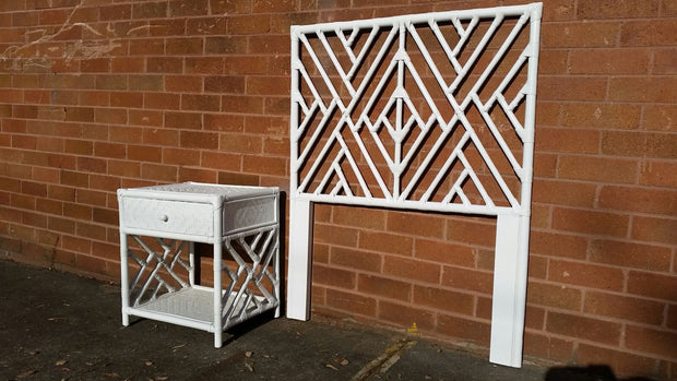 Rattan Bedhead Single Solid White