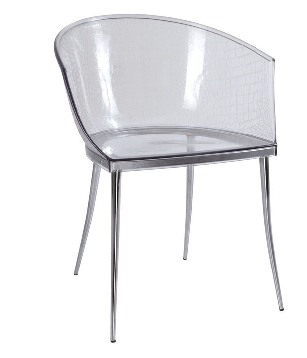 Curved transparent Chair with print  - Set of 2