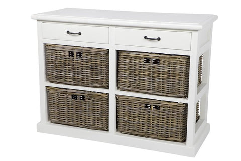 Hamptons Style Furniture with 4 Basket Storage