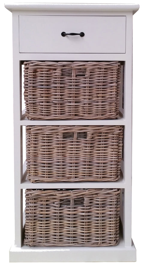 Hamptons Style Furniture with 3 Basket Storage