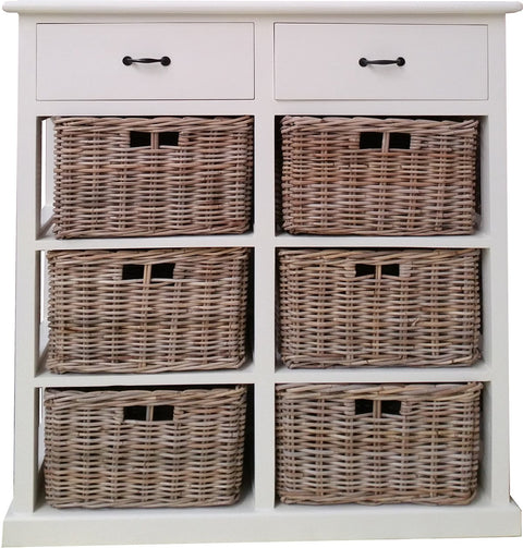 Hamptons Style Furniture with 6 Basket Storage
