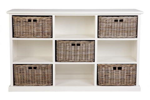 Hamptons Style Furniture with 9 opening Storage (5 Baskets)
