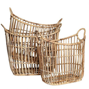 Set of 3 Wicker Laundry or Storage Baskets