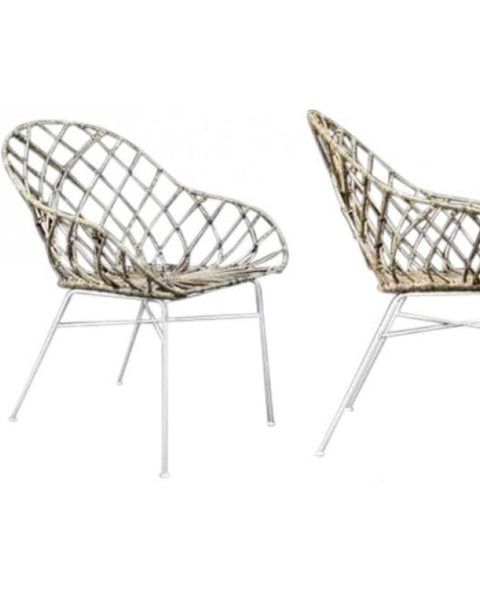Marc - Rattan Wave End Chair - Set of 2
