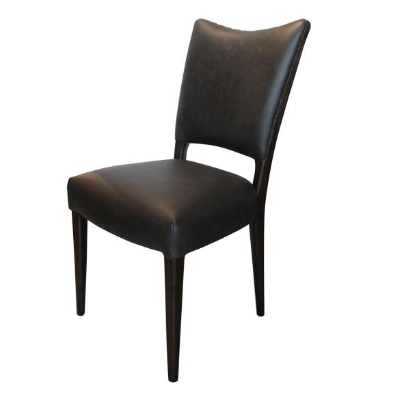 Black Aged Leather Dining Chair called Des - Set of 2
