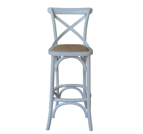 Cross Back Oak Bar Stool - White or Natural - Allissias Attic & Vintage French Style