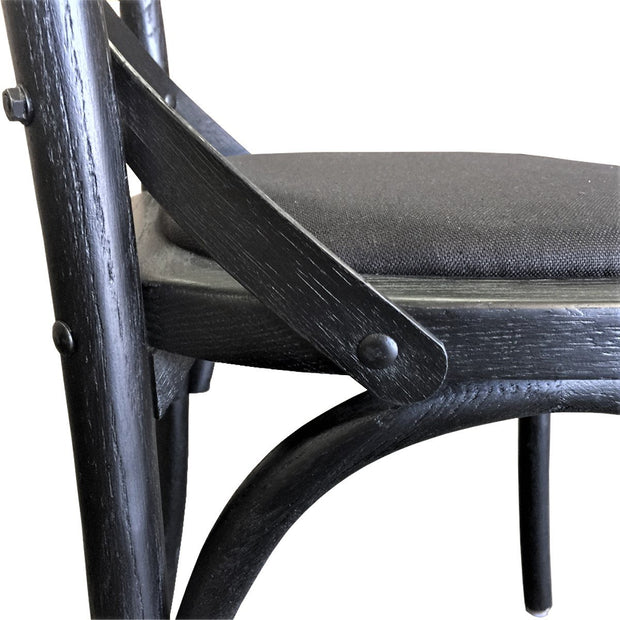 Kasan Cross Back Chair- Black with Linen Seat -  Set of 2