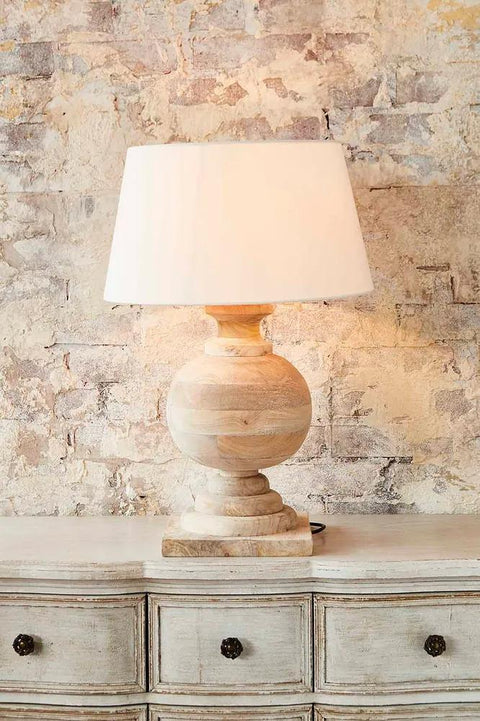 Coach Base Only - Natural - Turned Wood Ball Balustrade Table Lamp Base Only