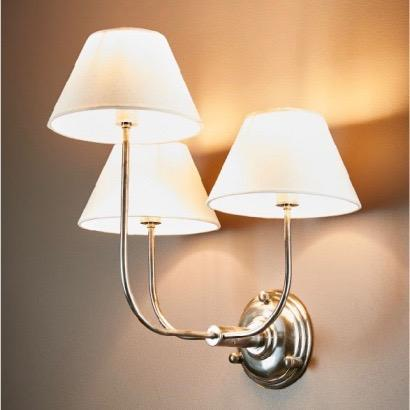 Trilogy 3 Arm Wall Lamp - Base Only - Silver
