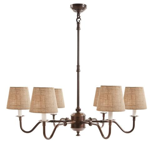 Prescot 6 Arm Chandelier - Bronze