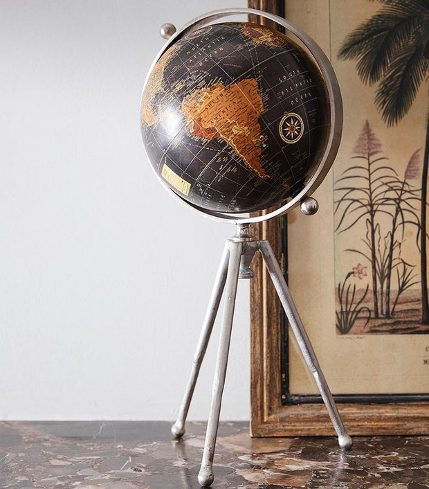 Black Globe on Tripod Stand