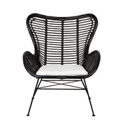 Barcelona Rattan Wing Back Chair - Black