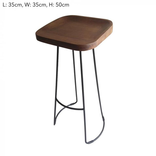 Mango Wood Bar Stool - Curved