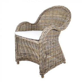 Rattan Armchair with Curved Arms