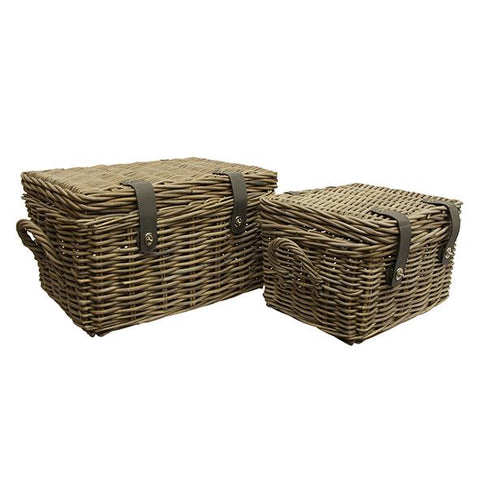 Set of 2 Baskets with Lid & Handle