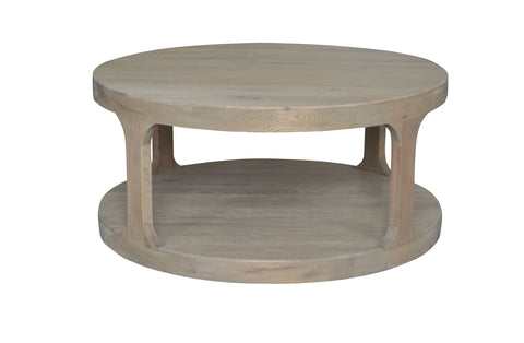 Round Pillar Base Coffee Table - Weathered Oak