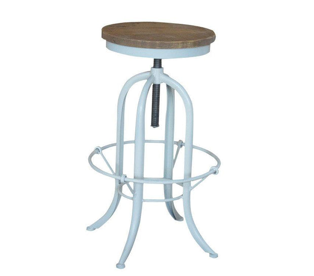 Industrial White Andrew Barstool - Weathered Oak - Set of 2