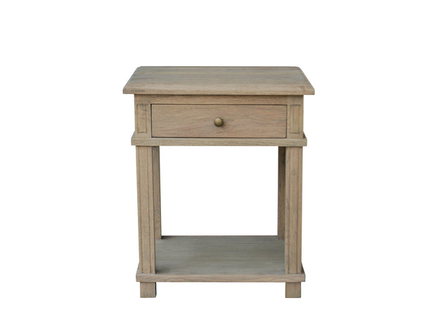 Manto Cross Brace Large Side Table - Weathered Oak