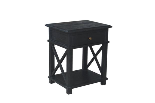 Manto Cross Brace Side Table - Rustic Black