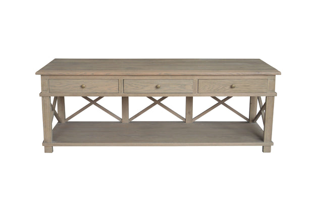 Sorrento Styled Cross Brace TV Unit - Weathered Oak