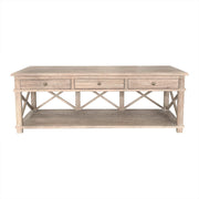 Sorrento Styled Cross Brace TV Unit - White Washed Oak