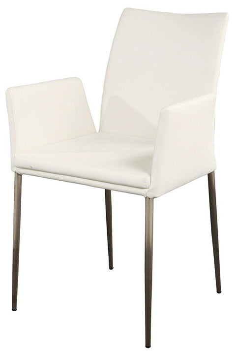 Modern Chair-S/S Frame-Arms-PU White - Set of 2