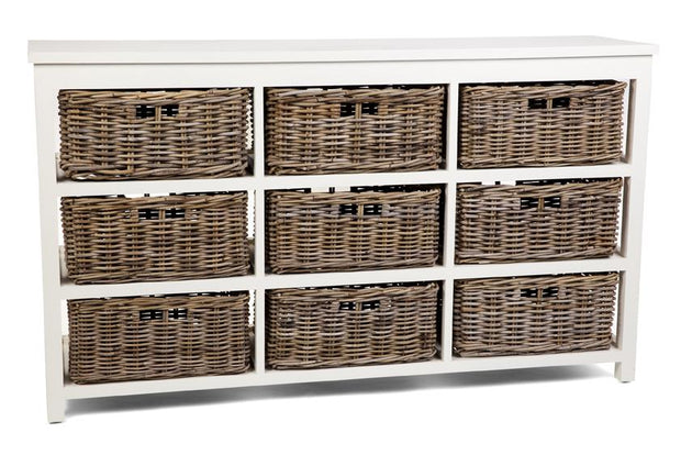 Hampton White Storage - Kubu Grey Basket 9 Drawers