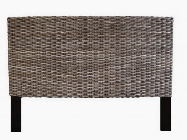 Rattan Headboard with Kubu Grey Finish - Queen