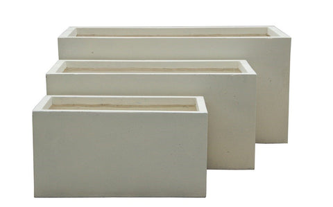 Rectangle Pots Cream - Set of 3