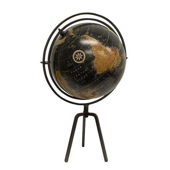 Black Globe on Silver Stand