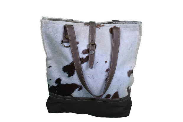 Cowhide And Leather Tote Bag