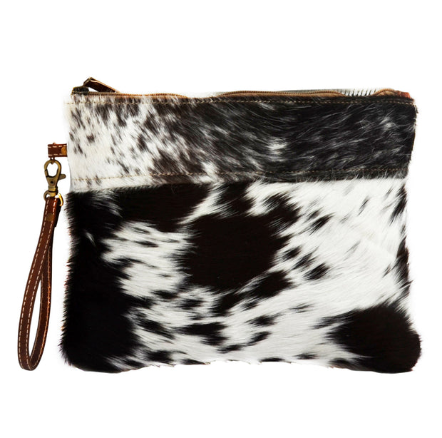 Everyday Cowhide Zip Clutch Bag