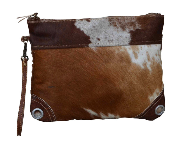 Dark Cowhide Zip Clutch Bag