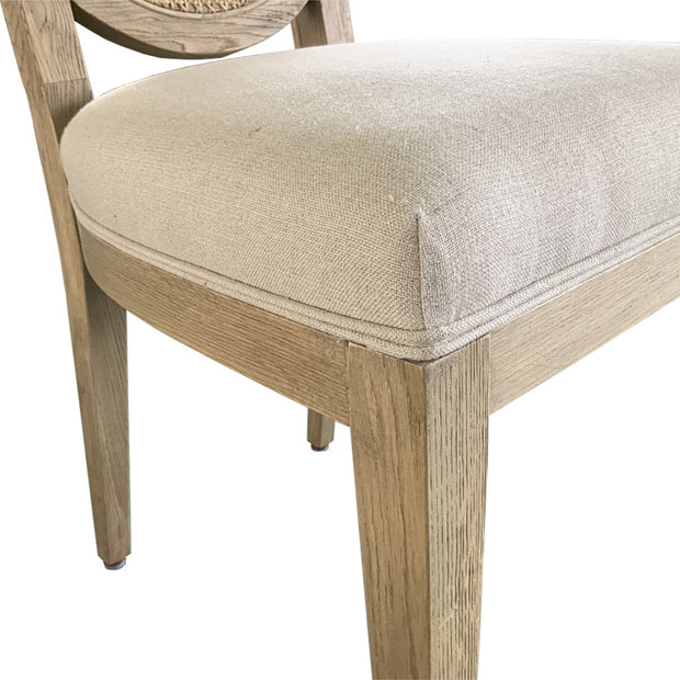 French Contemporary Round Side Chair - Set of 2 - Weathered Oak