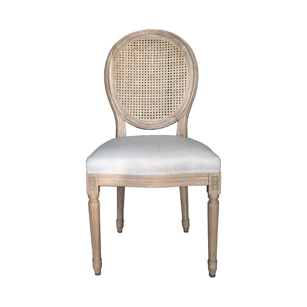 Zara Weathered Oak Dining Chair -with Rattan Back Set of 2