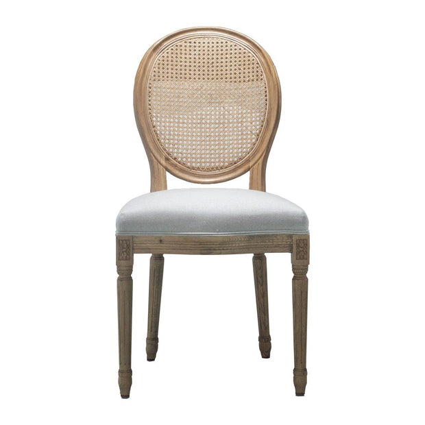 Zara Natural Oak Dining Chair with Rattan Back - Set of 2