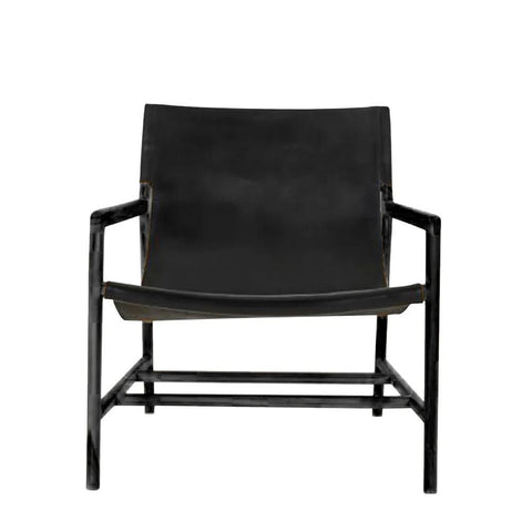 Leather Sling Chair - Full Black