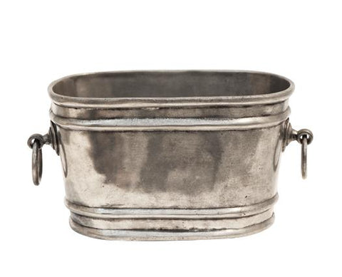 Oval Champagne Bucket with Rings - Pewter