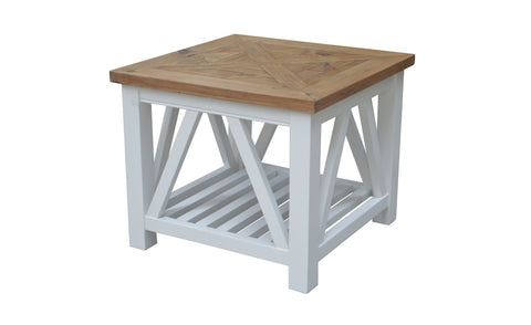 White Base & Timber Top Side Table -Oak Top