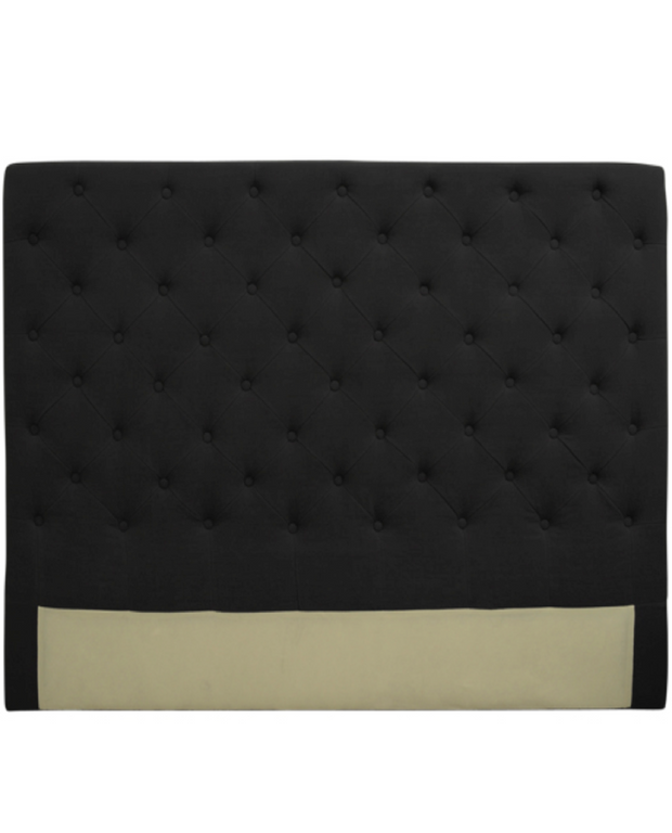 Linen Headboard with Buttons - Black
