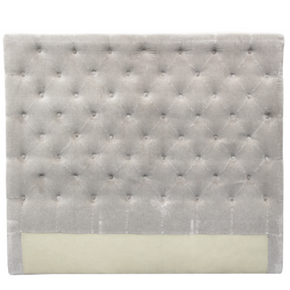 Velvet Headboard with Buttons - Soft Grey
