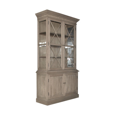 French Door Cabinet with Hutch + Criss Cross Detail - Natural Oak