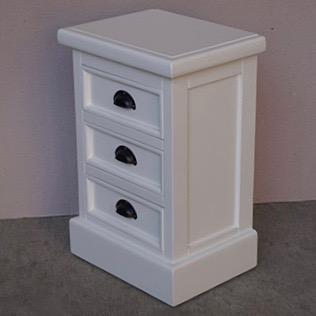 3 Drawer Bedside Table in White or Natural Top