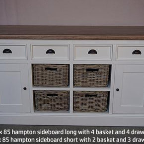Buffet 2 Door / 3 Drawer 2 Baskets - White