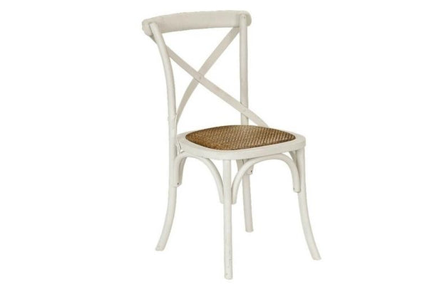 Cross Back Dining Chair With Rattan Seat (Set Of 4)  -  Chair
